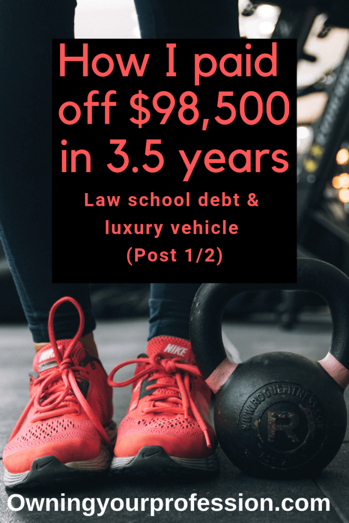 When I finished law school, I had $68,500 of student loan debt. I then bought a luxury vehicle for $30,000. I was now in debt $95,000. I wanted to have $1 to my name, so I got serious about paying off my debt. Click here to find out how I paid off $98,000 in 3.5 years.