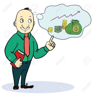 Man dream about money. Concept cartoon image. Vector illustration