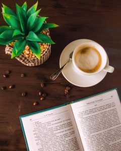 coffee and book and plant